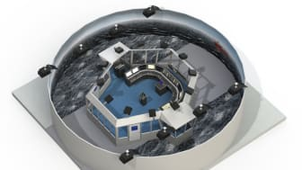 Illustration of K-Sim Navigation DNV GL Class A bridge simulator with 360 degrees field of view, scheduled for delivery to Simwave's brand new training facility in Barendrecht, The Netherlands at the end of September 2017