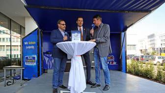 Eröffnung des LOGINN by Achat: Holm Retsch (DEHOGA), Marcus Köhler (Direktor) und Roman Knoblauch (Radio Leipzig)