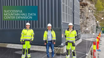 Members of the project team at DC1-Stavanger. Chief Project Officer, Terje Huseby, in the middle.