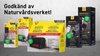 Victors elektriska mus- & råttfällor är godkända av Naturvårdsverket.
