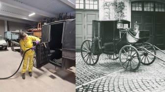 Foto: Kulturmagasinet/Helsingborgs museer. På bild 1: Konservator Sofia Rydell med en av vagnarna. Bild 2: Bilden med en förspänd vagn föreställer den så kallade Ingelssons kupé. Vagnen tillverkades i slutet av 1800-talet på beställning av Stockholms