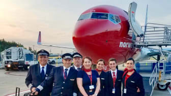 Norwegian's crew at Stewart International Airport for the inaugural flight to Edinburgh