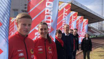 Representanter från IF Göta, Karlstads kommun och Svenska Friidrottsförbundet laddar inför Friidrotts-SM.
