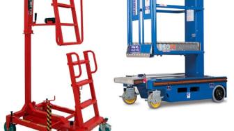 Ixolift-henkilönostin (vas.) on turvallinen vaihtoehto tikkaille ja telineille. Ecolift-mastonostinta ei tarvitse ladata, sillä se toimii käsin veivaamalla.