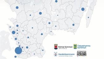 Kartan visar var Sydsveriges nya jobb skapas. Statistiken kommer från SCB och avser sysselsättningstillväxten i näringslivet 2013-2016 som andel av hela Sydsverige