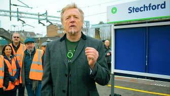 Steve Pottinger reads a special poem at Stechford station