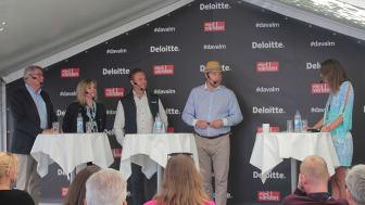 Bo Lundgren, politiker och ekonom, Elisabeth Beskow, chef för Stora företag och institutioner, Swedbank, Stefan Andersson, Head of Business Banking på Nordea och Günther Mårder, vd på Företagarna i panelen hos Deloitte och Affärsvärlden i Almedalen.