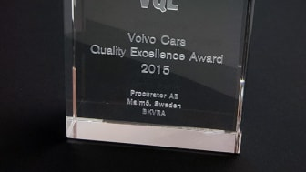 Volvo Cars Quality Excellence Award 2015 tilldelat Procurator AB