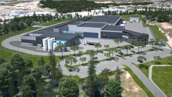 På TINE sitt nye produksjonsanlegg på Flesland i Bergen skal det produseres søtmelk, fløte og juice. Illustrasjon: TINE
