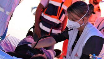 Under måndagen inledde Läkare Utan Gränser ett samarbete med den Palestinska Röda Halvmånen för att vårda skadade i Jerusalem. Foto: Tetiana Gaviuk/Läkare Utan Gränser