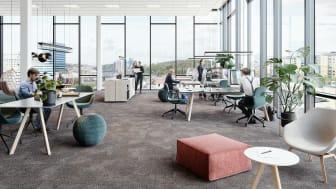 Kontorslokalernas utformning i Kallebäcks Terrasser bygger på det nya mobila sättet att arbeta med möjlighet till både öppna aktivitetsbaserade lösningar eller enskilda arbetsplatser.