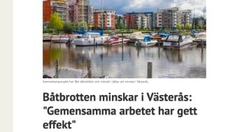 Uppmaningen att använda appen CoBoats ger effekt - båtbrotten minskar i Västerås
