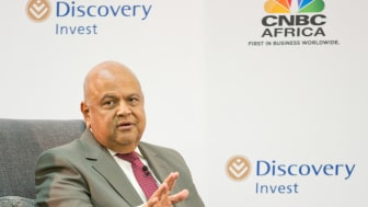 South African Minister of Finance Mr Pravin Gordhan addresses the audience