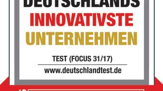 """Logo Deutschlandtest-Siegel """"Deutschlands innovativste Unternehmen"""""""