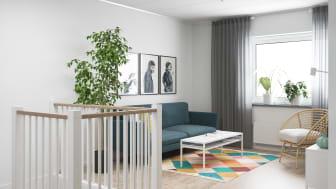 Illustration av interiör, allrum, BoKlok småhus, 2021.