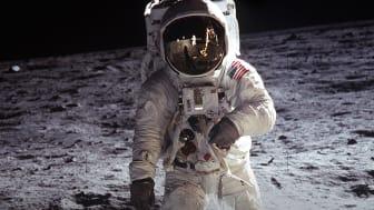 Buzz Aldrin på Månen i forbindelse med Apollo 11-missionen. (Foto: NASA)