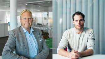 Björn Palm, VD för iCentrex och Viktor Karlsson, VD för Telavox ser framemot ett fördjupat samarbete.