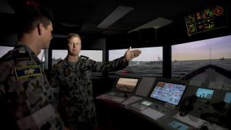 Picture shows Maritime Warfare Officer Training in the KONGSBERG simulator at HMAS Watson.  Photo credit: POIS Yuri Ramsey. Copyright: Commonwealth of Australia
