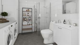 Brf Skogshem - 3D-bild av badrum