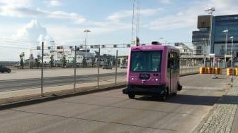 Helsingborg är den kommun, som enligt kommunrankningen SHIFT, är mest framåtblickande. Här finns ett starkt stöd för nya tekniska lösningar och tjänster i transportsystemet. Bilden är från ett test av självkörande buss i Helsingborg för en tid sedan.