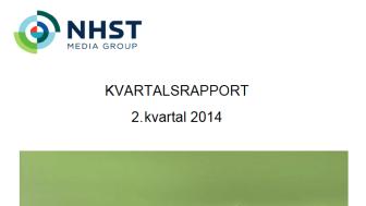 NHST Media Group - Kvartalsrapport 2. kvartal 2014