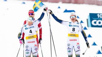 Förra året vann Linn Svahn sprinten i Falun medan Jonna Sundling slutade trea. På söndag ställs de mot varandra igen. Foto: Bildbyrån