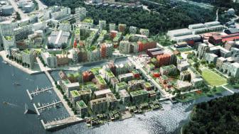 Visionsbild över Kolkajen från Stockholms Stads hemsida.