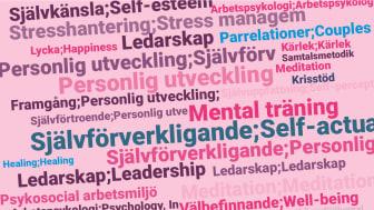 Vanliga ämnesord för självhjälpsböcker, som KB tittar närmare på i statistiken över 2018 års bokutgivning. Personlig utveckling, självförverkligande, självkänsla, stresshantering, meditation och mental träning är några exempel.