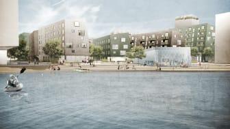 Visionsbild, vy från hamnen i Lindholmen
