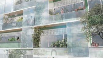 Brf Djurgårdsvyn, närbild på fasad