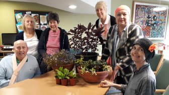 Green Shoots gardening group: (from left to right) Chris Taylor, Dawn Bulpin, Carole Smith, volunteer Kate, Wendy Blackwell, Maureen Williamson