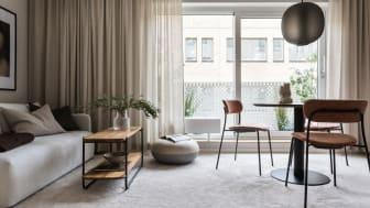 Lägenheterna i Haga Norra håller hög standard och har genomtänkta materialval. Bild från visningslägenhet.