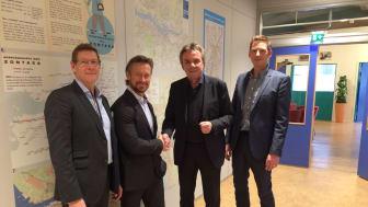 Göran Medin, kundansvarig Sigma IT Consulting; Lars Kry, VD Sigma IT Consulting; Lars-Börje Björfjäll, VD Göteborgs Spårvägar; Mattias Sahlström, IT-chef Göteborgs Spårvägar.