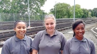A selection of GTR's current Engineering Apprentices, Twinkle Clarke, Rosie Jayne-Wiles and Katrina-Rose Allen