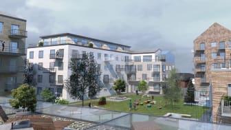 Tidig visionsskiss över det nya bostadskvarteret.         Illustration: Sweco Architects