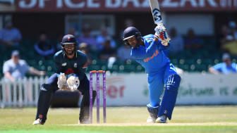 Mayank Agarwal on the way to a century for India A against England Lions in Leicester last week, watched by Surrey and Lions wicketkeeper Ben Foakes. The teams meet again at the Kia Oval on Monday in the A-team Tri-Series final