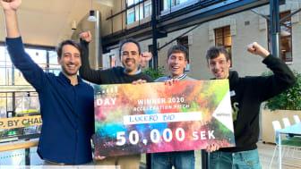 Teamet på Lucero: här efter att de vann Acceleration Pitch 2020 på Chalmers Ventures