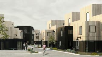 Beslut om bygglov för 52 lägenheter i den nya stadsdelen Södra Källtorp väntas på byggnadsnämnden. Illustration: EA Fastigheter