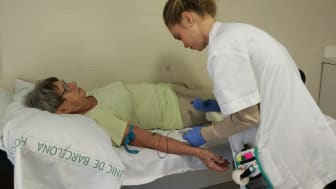 An SCD-Well clinical trial participant has her blood tested at the Spanish trial centre - IDIBAPS - in Barcelona.