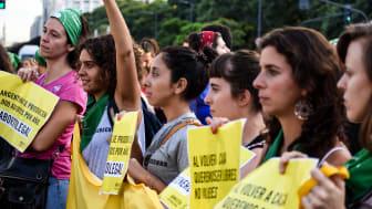 Demonstration i Argentina för rätten till abort.