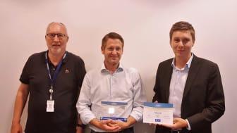 F.v - . Svein Thorgersen (Area Sales Manager Norge – Vanderbilt), Rune Langholen (Produkt och inköpsansvarig Nokas AS) , Alex Holmström (Nordenchef -Vanderbilt)