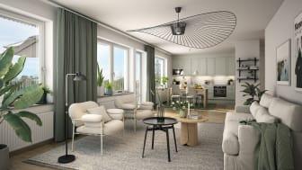 Visualiseringsbild från en av de 40 lägenheter som Peab ska bygga i Kviberg.
