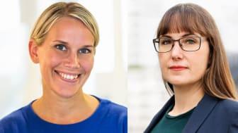 Karolina Brick, miljöchef på Riksbyggen och Johanna Ode bostadspolitisk expert på Riksbyggen.