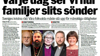 Presidiet för Sveriges kristna råd skriver idag på Aftonbladet debatt.