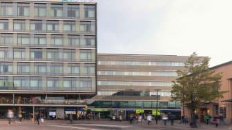 Azets-talo sijaitsee Elielinaukiolla Helsingin päärautatieasemalla.