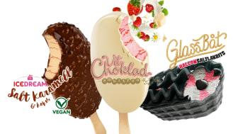 Ice Dream Saltkaramell & Kokos, Vit Choklad Smultron, Glassbåt HallonSaltlakrits
