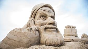 På bilden syns en av skulpturerna från Kalmar International Sandsculpture Festival 2015. Foto: Albin Rylander.