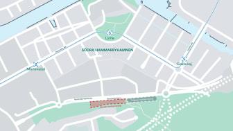 Markeringen visar det ungefärliga markanvisningsområdet. Området kommer att preciseras i kommande detaljplanearbete.