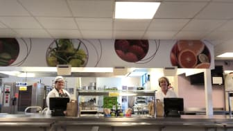 Catering staff Jenni Sullivan and Jackie Yates at Parrenthorn who have been running packed lunch boxes for most of the south of the borough.