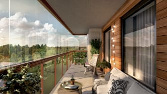 Illustrationsbild av en balkong i HSB brf Panorama